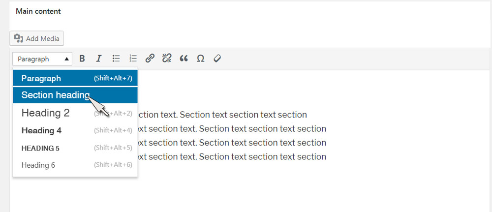 section heading dropdown