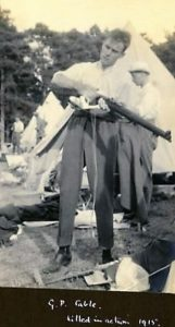 George Cable cleaning his rifle