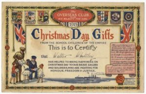 Overseas Certificate given to children of Bishopsteignton Primary School during WW1