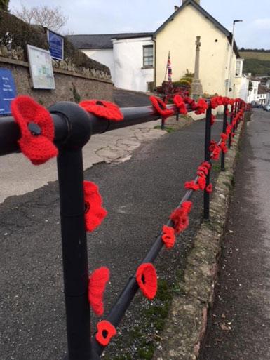 Poppies, memorial, Fore Street, Bishopsteignton