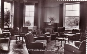 Black and white photograph of the lounge at Murley Grange Bishopsteignton, when it was a hotel