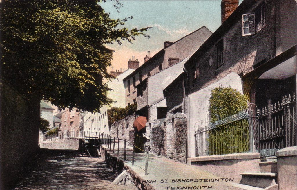 Hand coloured postcard of Fore Street, Bishopsteignton showing Myrtle Cottage and Blacksmiths