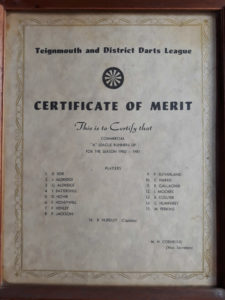 Commercial 'A' Team 1980 - 1981 Runners Up Certificate of Merit