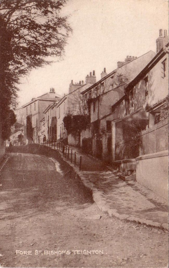 Sepia photgraph showing Fore Street Blacksmith