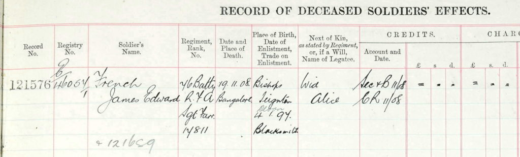 James French , Death Record. 1908