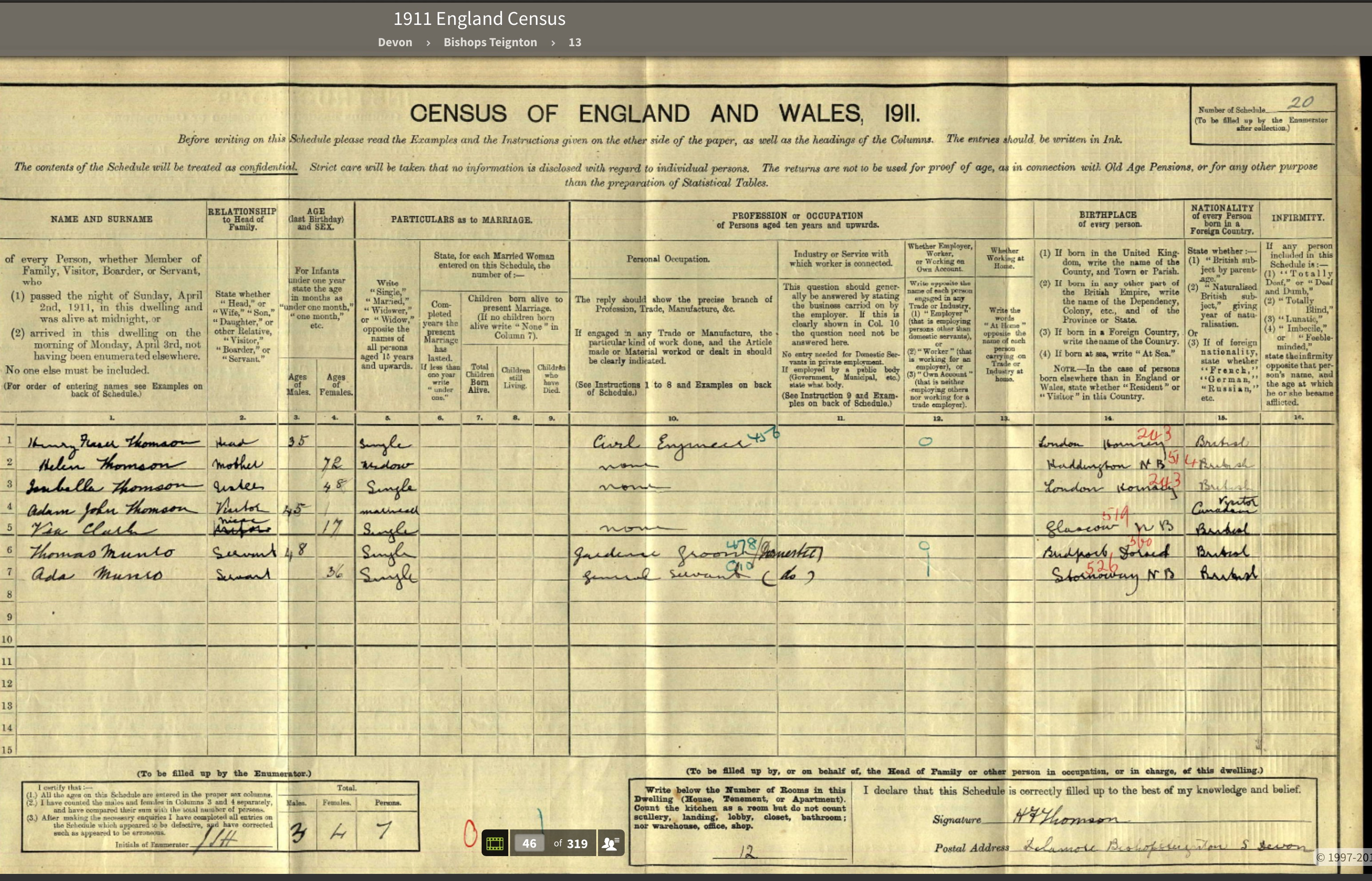 1911 CENSUS DELAMORE