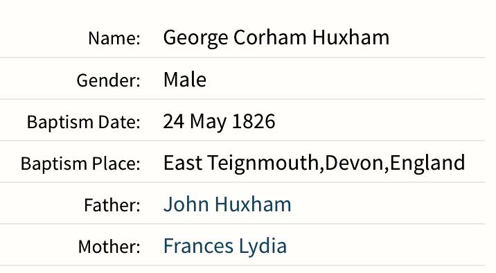 George Huxham Baptism Record