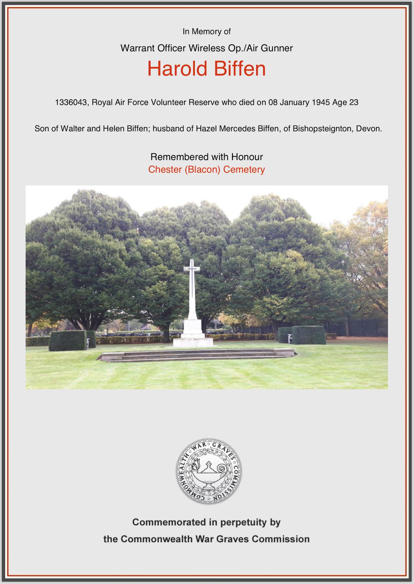 H Biffen Memorial