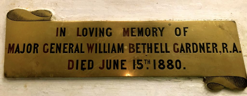 Brass Plaque to William Bethell Gardner, Bishopsteignton Church