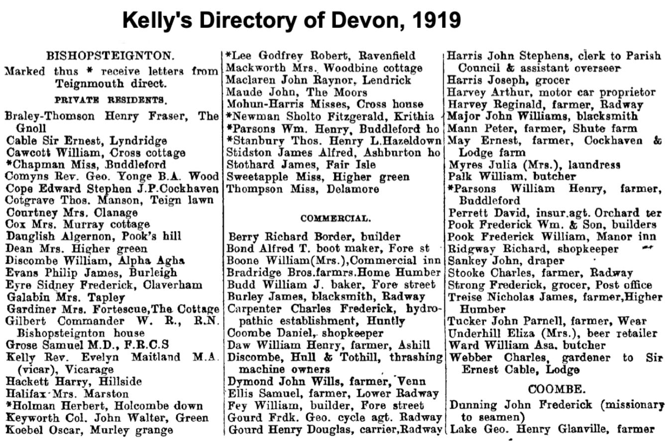 Kelly's Directory 1919 showing Henry Thomson at The Gnoll and a Miss Thomson at Delamore.