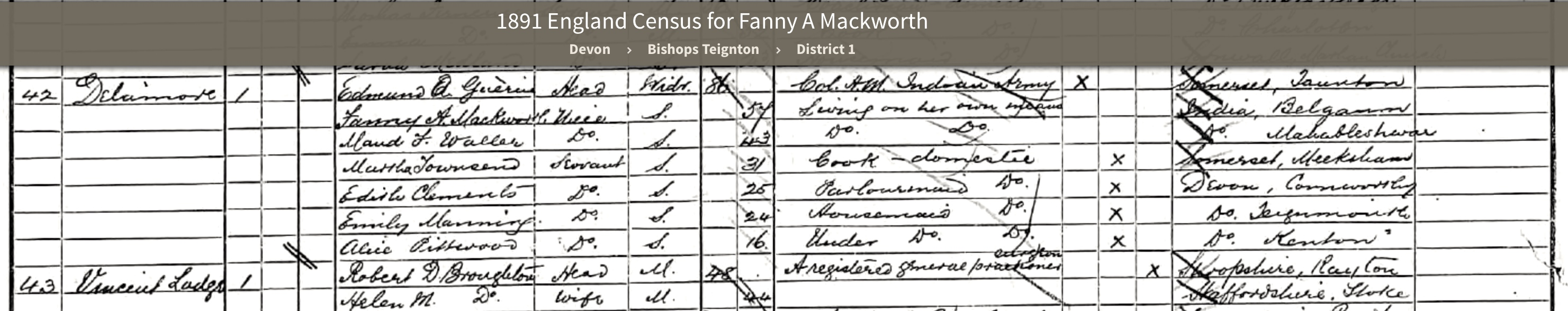 1891 Census Delamore