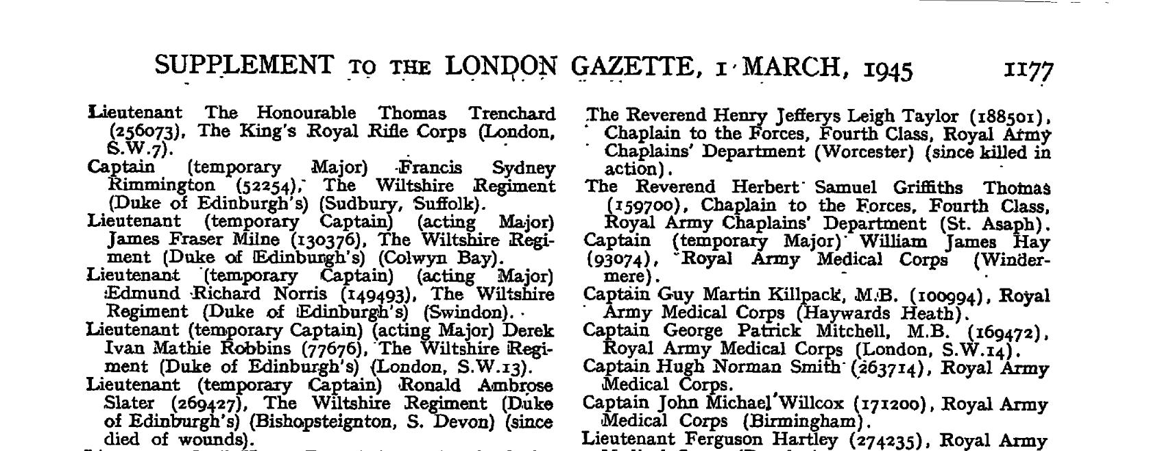 R Slater London Gazette