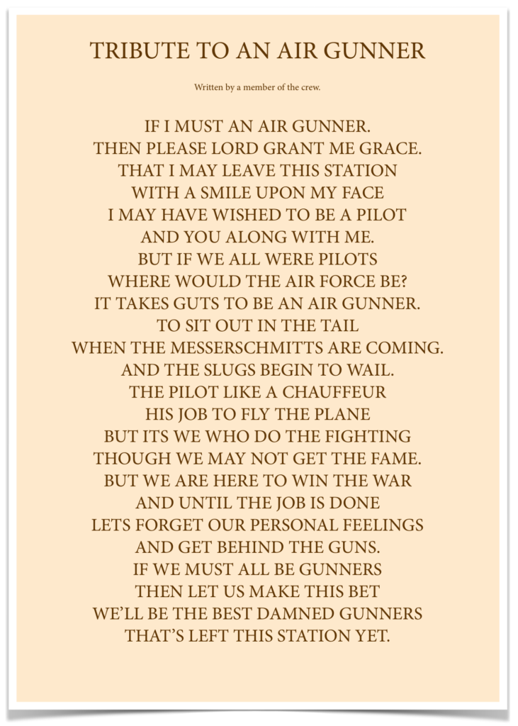 Tribute to an Air Gunner