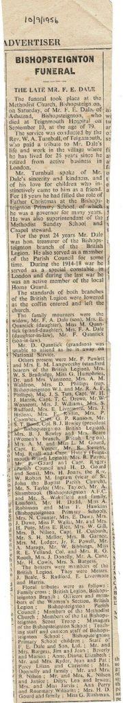 F E Dale death notice 1956