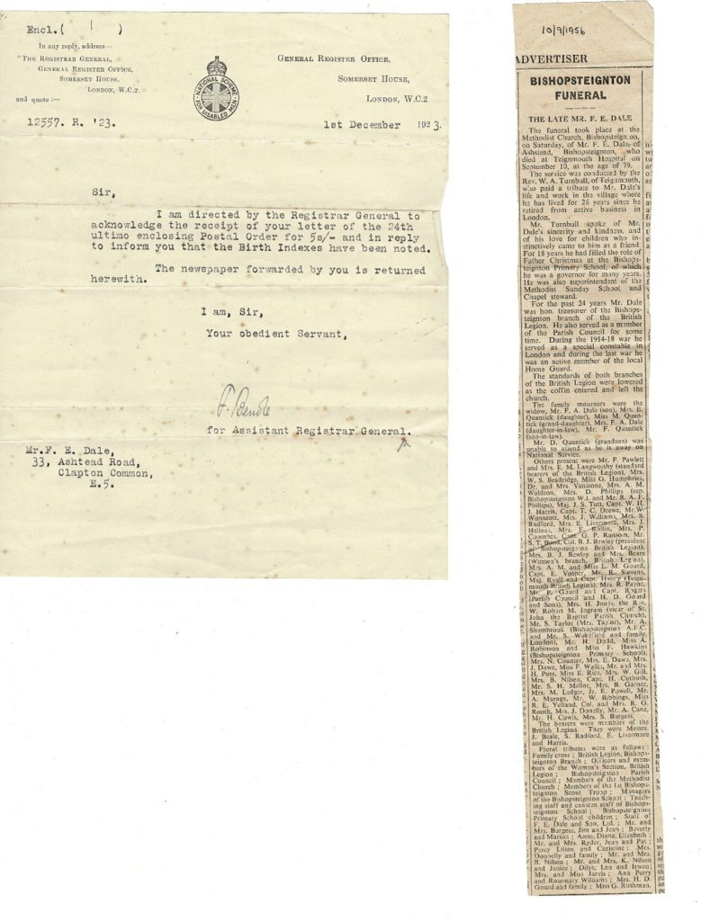 F E Dale death notice 1956, Official document 1923