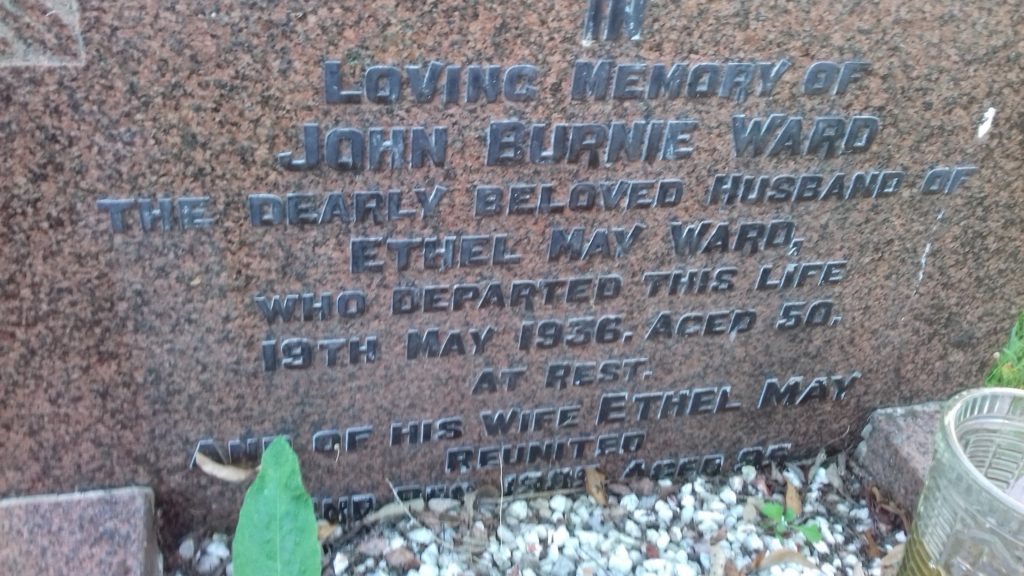 John Burnie Ward's Gravestone