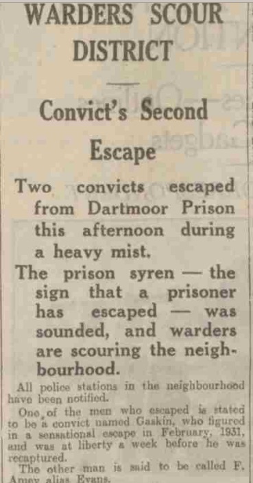 Evening Telegraph Nov 16 19322nd Escape Article Gaskin