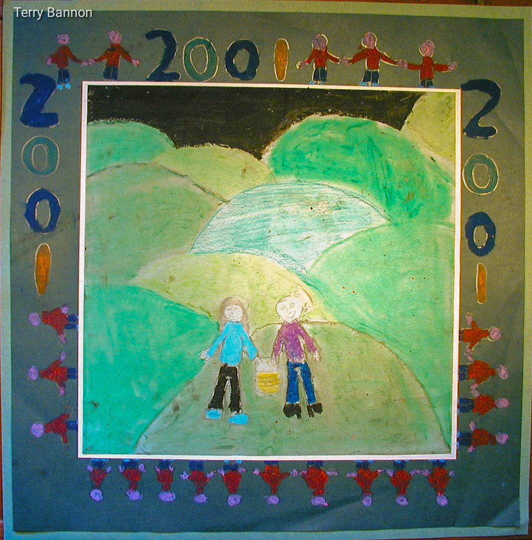 Two children holding a lantern with green rolling hills