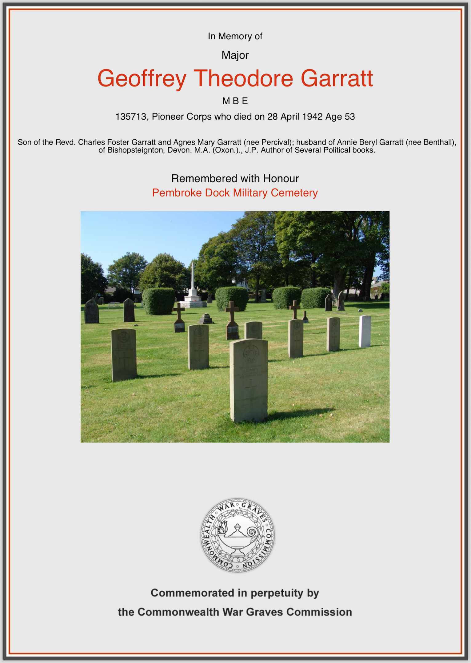 G.T. Garratt Memorial