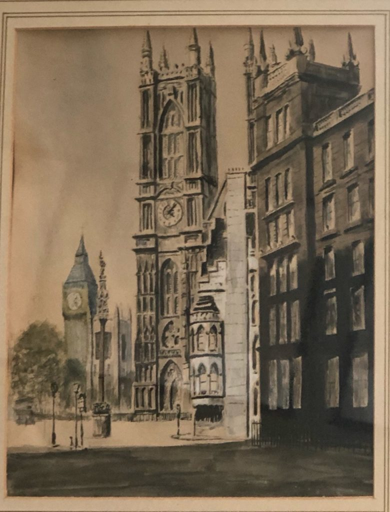 looking towards parliament square from bottom of Victoria st. (Force's exhibition Burlington House 1942). Phil Gourd