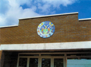 School mosaic close up