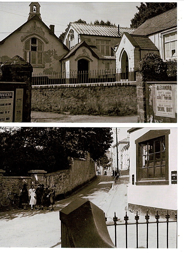 Bishopsteignton Primary School from the gates of Shute Farm, and a view of Fore St. From Cross Gate