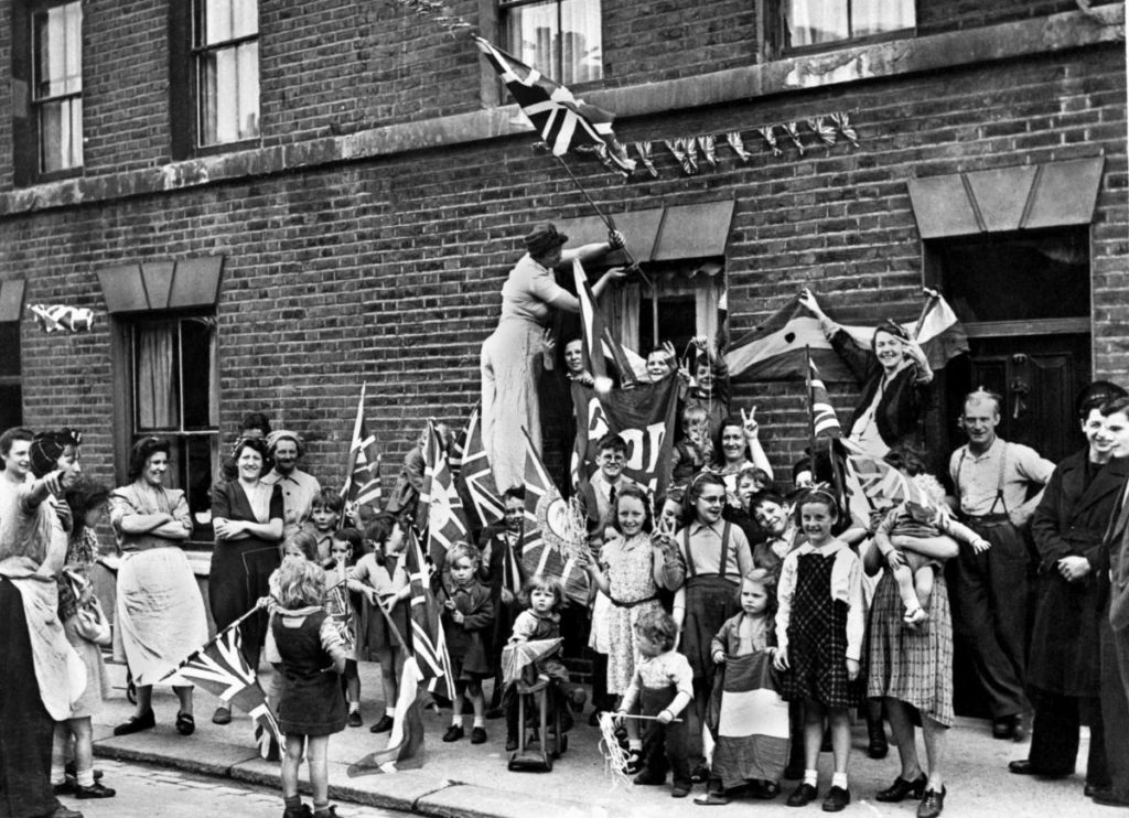Decorating Houses for VE DAy 1945