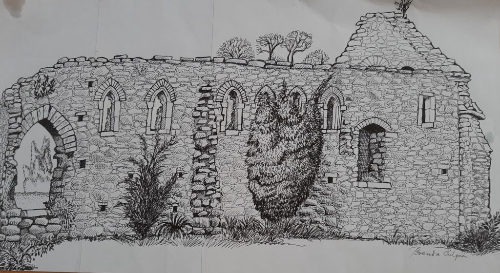 A Drawing by local artist Brenda Gilpin of the Bishops' Palace, Old Walls