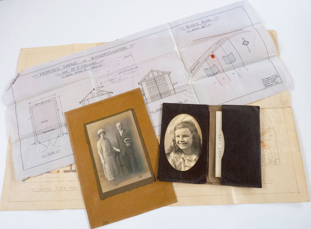 Photograph of 2 building plans and 2 photographs from the Coombe family archive.