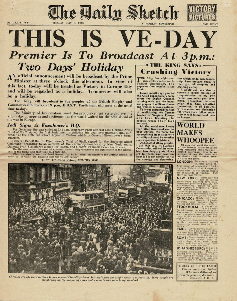 The Cover of the Daily Sketch May 8th 1945