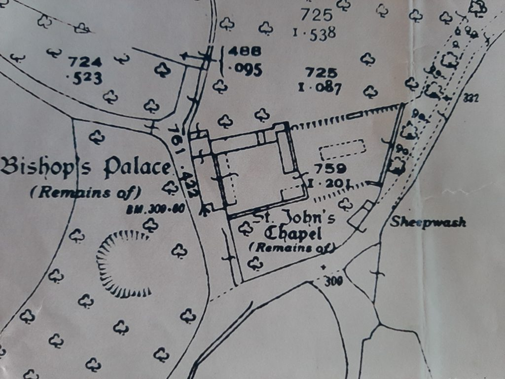 Section of Ordinance survey map of the area of the Bishops' Palace