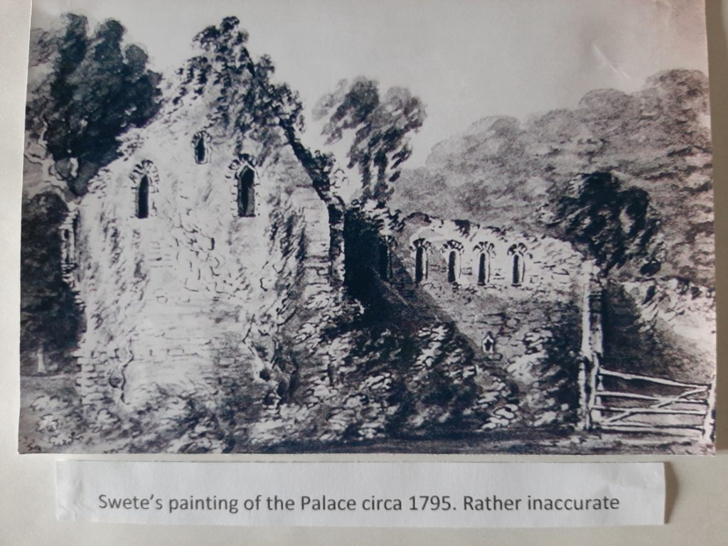 Swete's painting of the Palace ruins in 1795