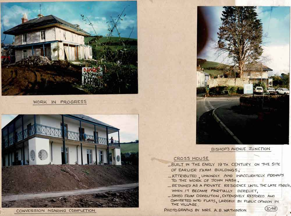 3 Photographs of the conversion of Cross House, Bishopsteignton, into flats from nineteen-ninety to nineteen-ninety-one