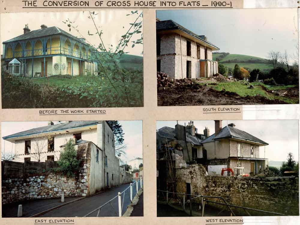 4 Photographs of the conversion of Cross House, Bishopsteignton, into flats from nineteen-ninety to nineteen-ninety-one