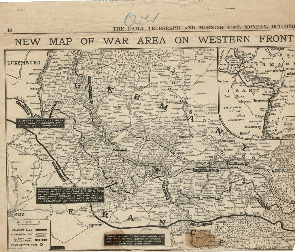 map of the Western Front Oct 9th 1939