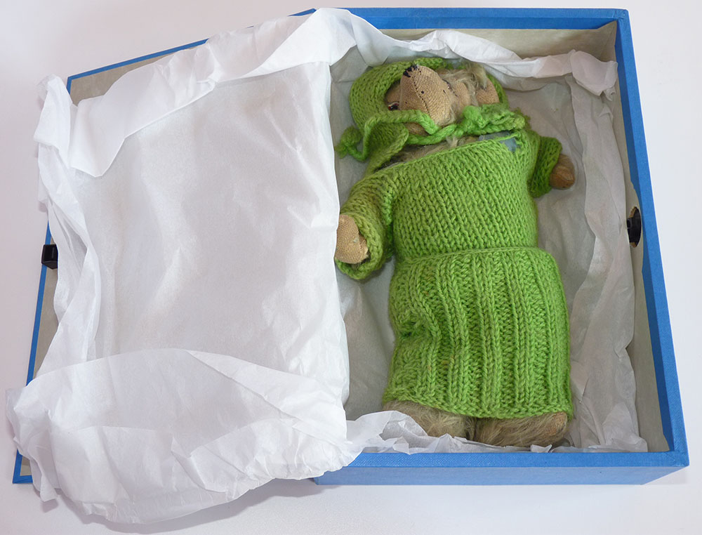 A photograph of a toy bear in a box with tissue.