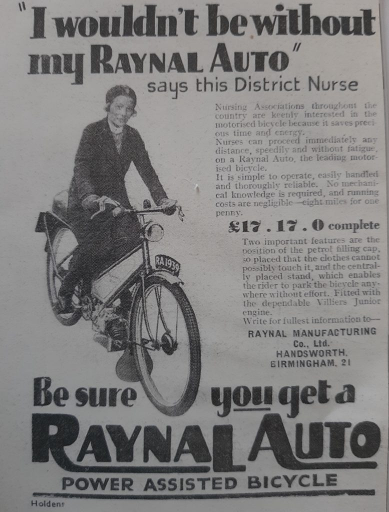 Bicycle advert from Nurses and Nursing byDr Susan Cohen