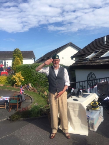 An ex-serviceman salutes - Deane at home VE Day 75