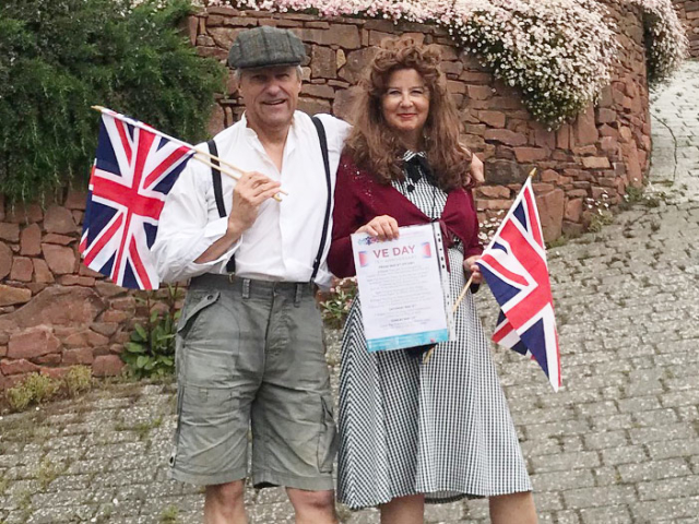 Jess and Richard in full VE Day character