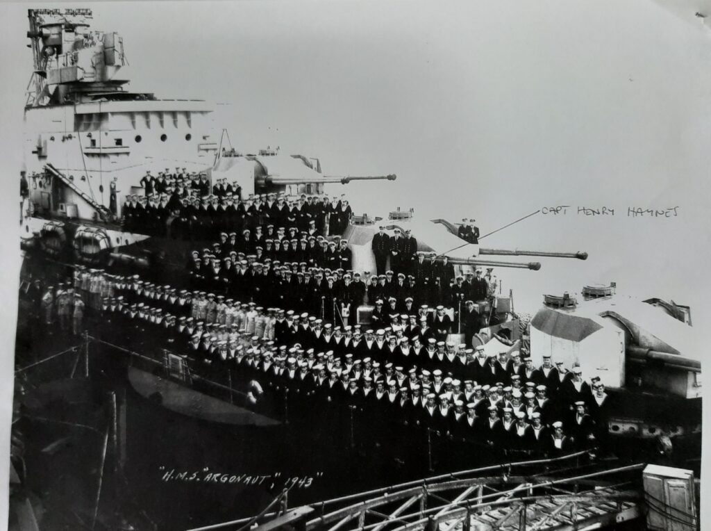Capt Henry Haynes and crew aboard HMS Argonaut