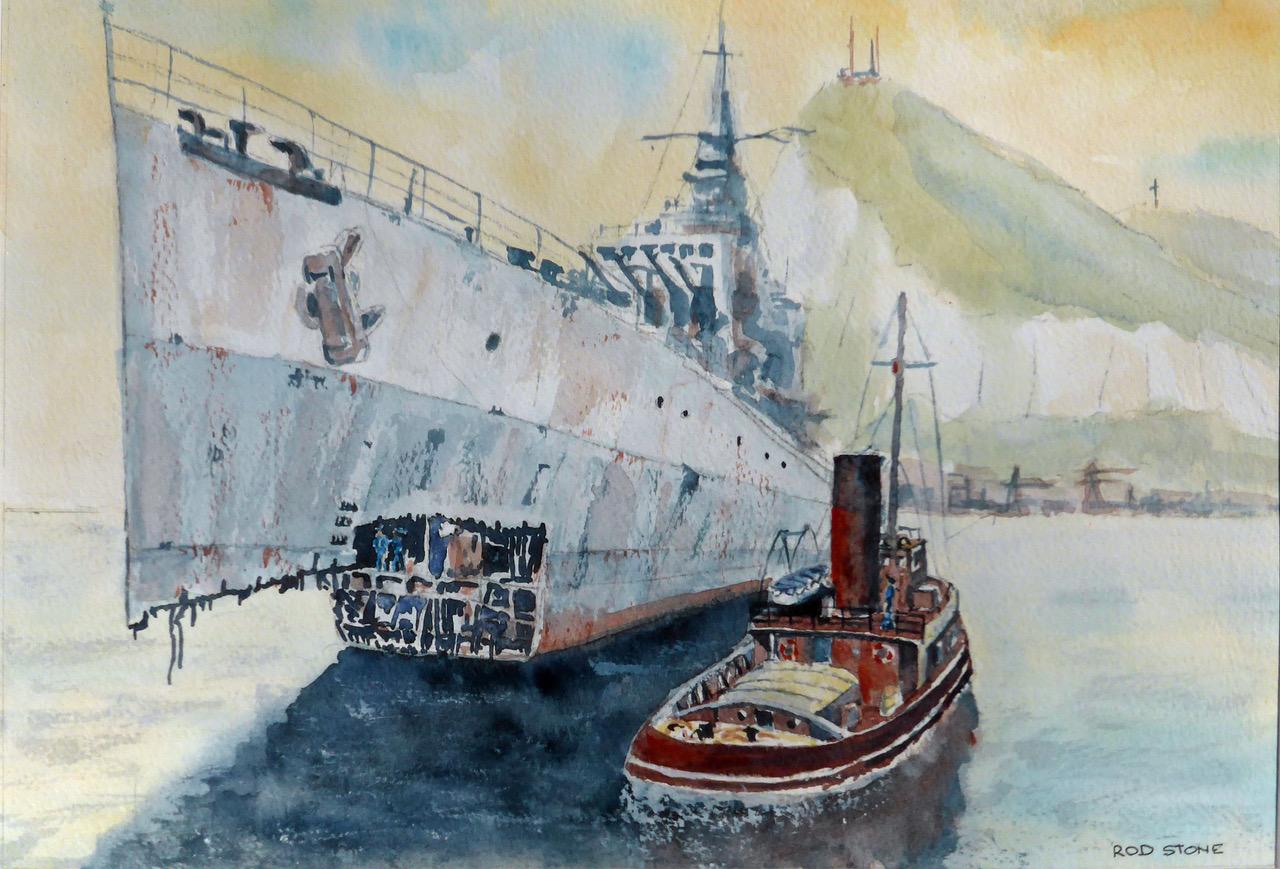 HMS Argonaut 1942 painting by Rod Stone