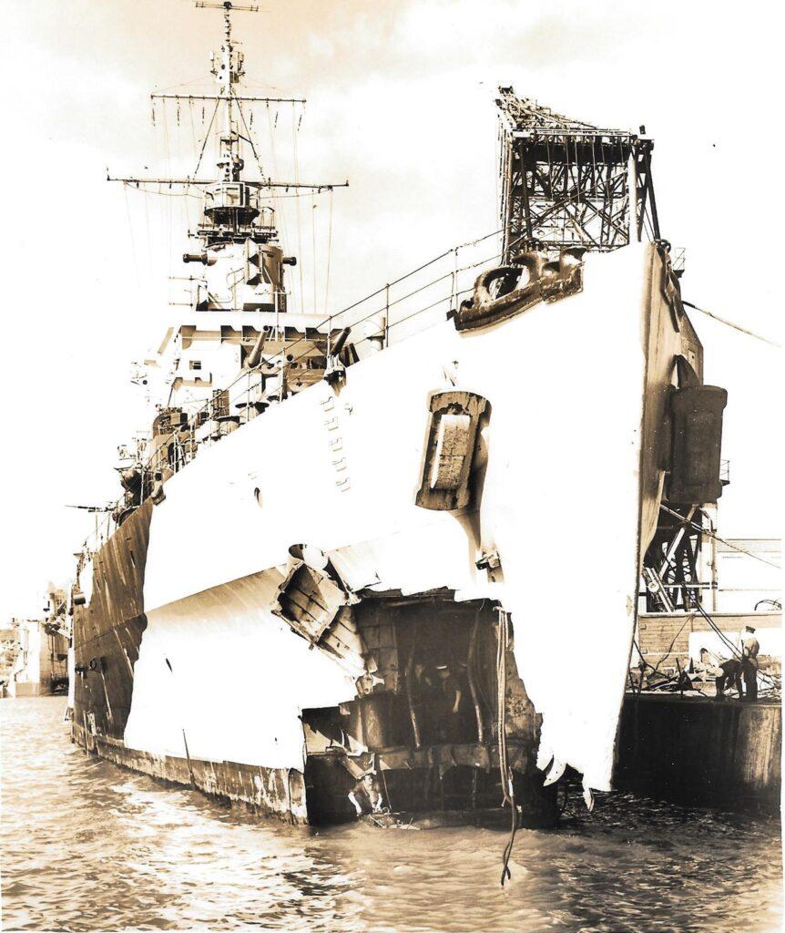 HMS Argonaut Stern damage