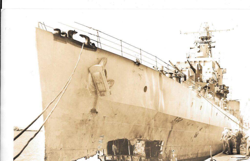 HMS Argonaut damage Bow section