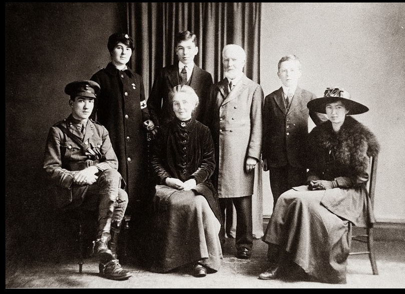 The Graves family on November 22nd 1917 Standing: Rosaleen, Charles, Alfred, John. Sitting: Robert, Amy, Clarissa.