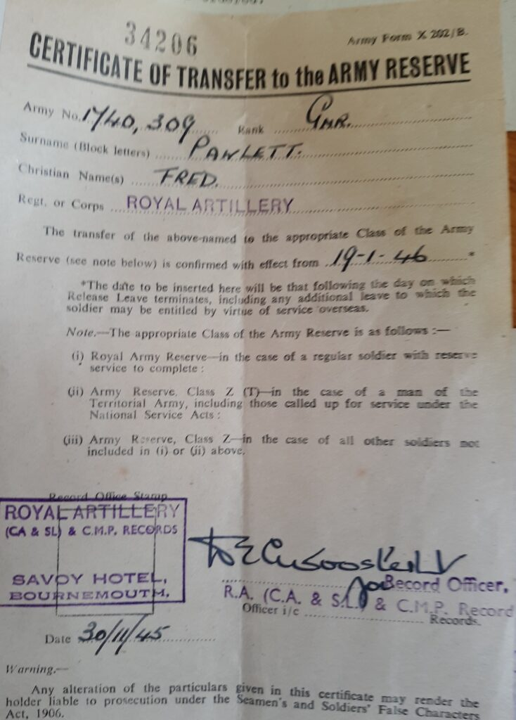 'Scouty' Pawlett military papers