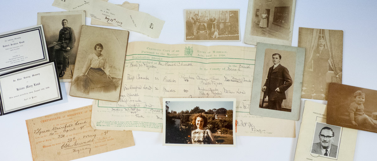 Census search tool header image - family items from the Bishopsteignton Heritage archives