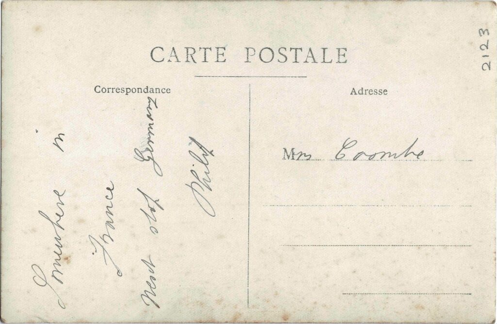 Reverse of a photograph of Philip Coombe and two unidentified soldiers somewhere in France.