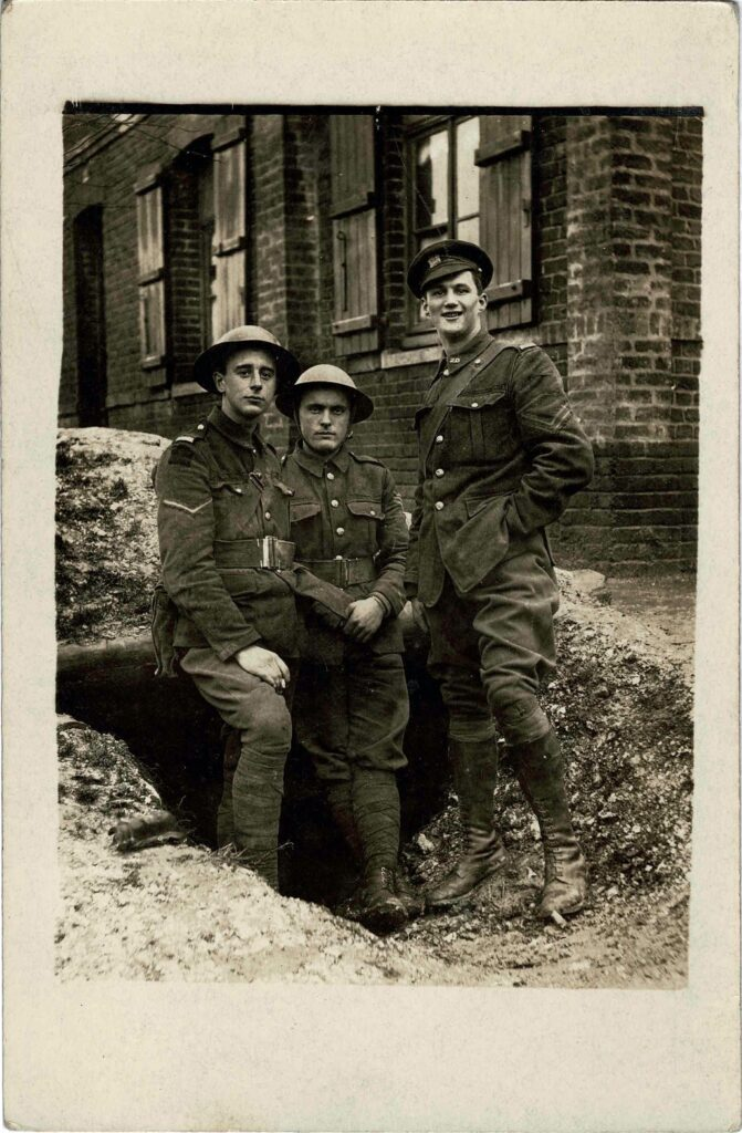 Photograph of Philip Coombe and two other soldiers 'Somewhere in France' in 1917.