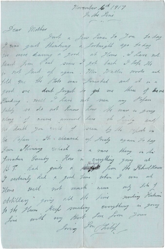 Letter from Philip Coombe to his mother Mary Coombe, 1917.