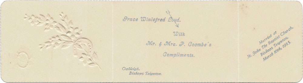 A wedding favour note from the marriage of Philip and Grace Coombe on March 10th, 1925.